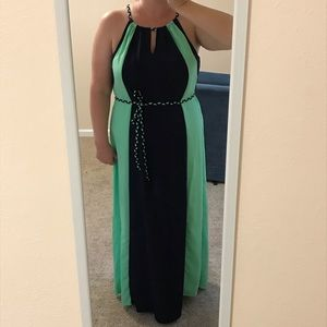 Long navy and mint dress